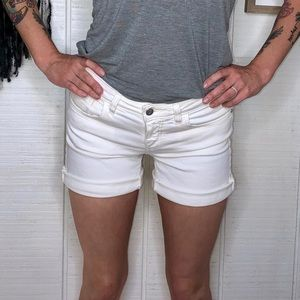 Pilcro anthropologie white denim rolled shorts